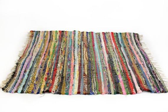 Tapis de sol tissé bayadère franges multicolore 70x140cm