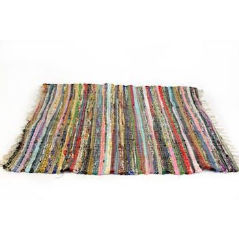 Tapis de sol tissé bayadère franges multicolore 60x90cm