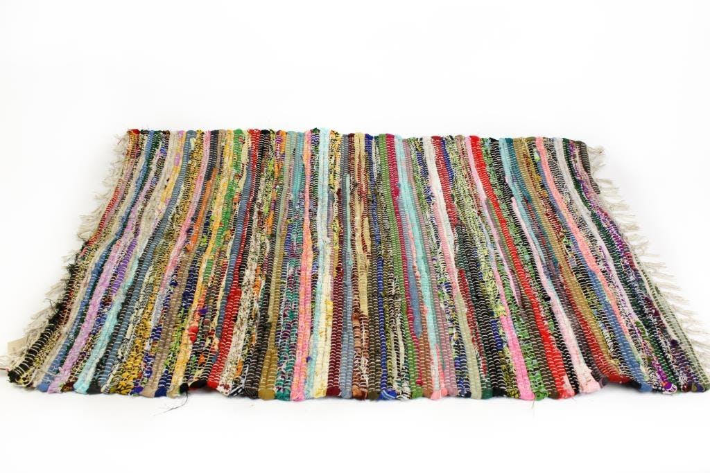 Tapis de sol tissé multicolore bayadère franges 120x180cm