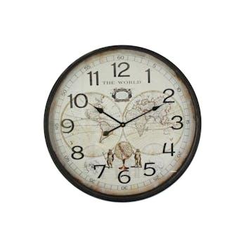 """Horloge ronde Planisphère """"The World"""" en métal et bois D68cm"""