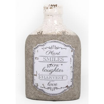 Bouteille ovale effet rustique avec messages en terre-cuite blanche et grise 25,5x15x8,5cm