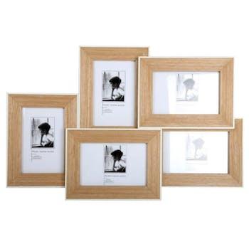Cadre photo multi-cadre 5 photos en bois naturel et bordure blanche