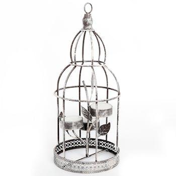 Cage à oiseaux bougeoir chauffe plats 12x28cm