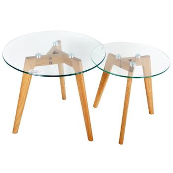 Lot de 2 Tables rondes d'appoint Gigogne plateau verre et pieds bois H45cm
