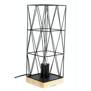 Lampe à poser en métal noir façon cage et support bois H37,5cm