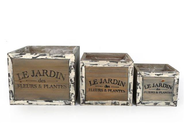 """Lot de 3 jardinières carrées """"Le Jardin"""" bois naturel effet rustique"""
