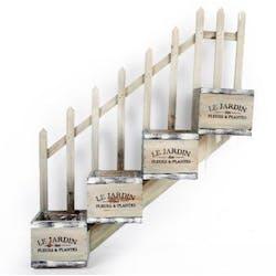 """Jardinière Escalier quadruple """"Le Jardin"""" bois naturel effet rustique 49x13x59cm"""