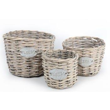 """Lot de 3 cache pots ronds en vannerie naturelle et plaque métal """"Fleur"""""""