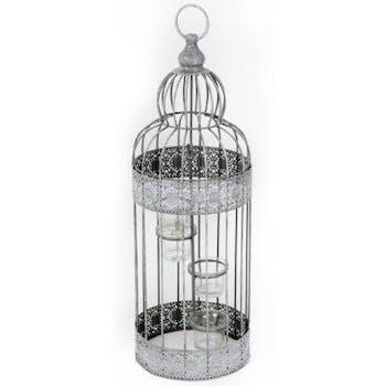 Cage à oiseaux métal gris à motifs ajourés avec 3 photophores en verre 52x18cm
