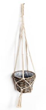Cache pot en vannerie naturelle foncée en suspension macramé 70cm