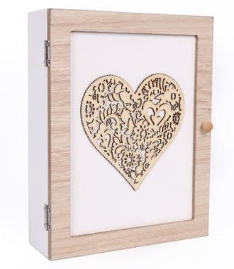 Boite à clés en bois blanc et naturel avec c?ur bois sculpté 24x18,5x6cm
