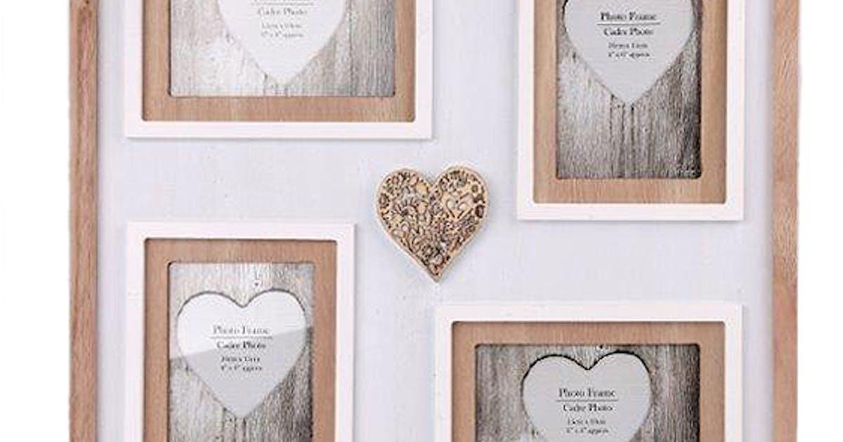 cadre photo pêlemêle 4 photos en bois blanc et naturel