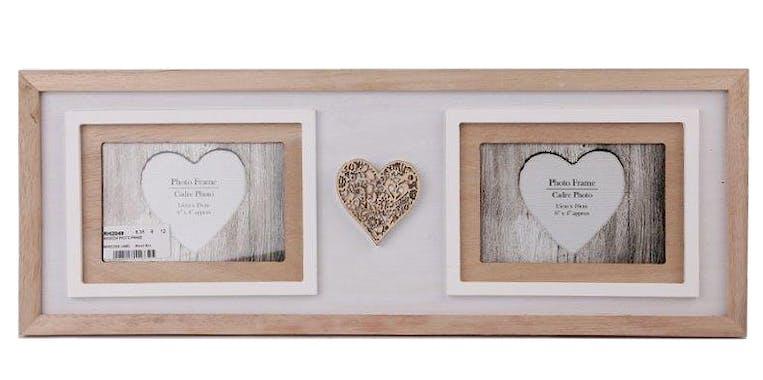 Cadre photo pêle-mêle 2 photos en bois blanc et naturel avec c?ur bois sculpté 55x20cm