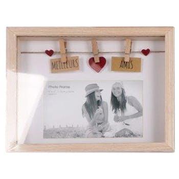 """Cadre photo à message """"Meilleurs ? Amis"""" en bois naturel avec suspension c?urs de 3 pinces 18x3x22cm"""