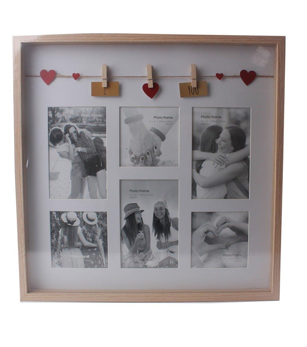 """Cadre photo pêle-mêle 6 photos à message """"I ? You"""" en bois naturel avec suspension c?urs de 3 pinces 41x3x41cm"""