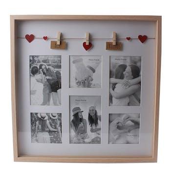 """Cadre photo pêle-mêle 6 photos à message """"Meilleurs ? Amis"""" en bois naturel avec suspension c?urs de 3 pinces 41x3x41cm"""