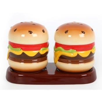"""Set salière et poivrière """"Hamburger"""" céramique 17x13x11cm"""