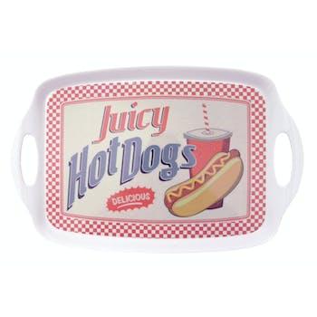 """Plateau rétro vintage """"Juicy Hot Dogs"""" mélamine avec poignées 40x26x2,5cm"""