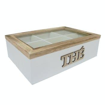"""Boite à thé compartimentée """"Thé"""" bois naturel et blanc 16x24x7cm"""