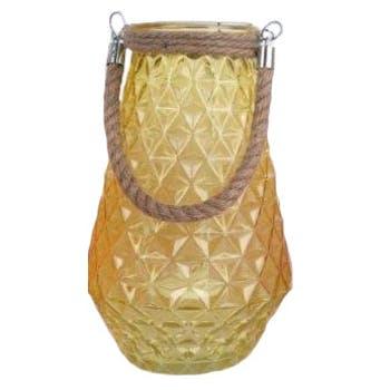 Lanterne photophore verre jaune forme Ananas avec anse en corde 18x18x31cm