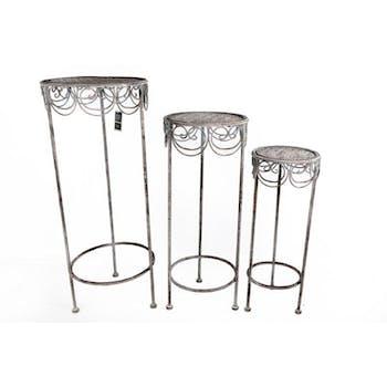 Lot de 3 sellettes rondes métal grisé vieilli décor arabesques 72x32cm