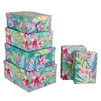 Lot de 6 boites de rangement décor floral tropical 35x27x15cm