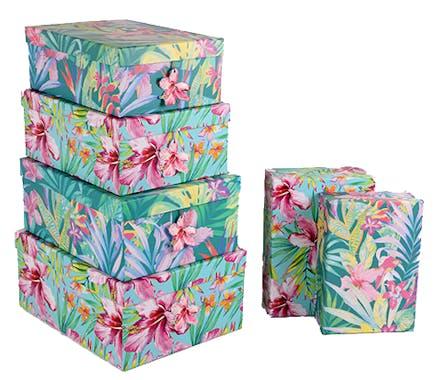 Lot de 6 boites de rangement décor floral tropical 35x27x15cm