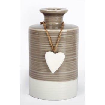 Vase bouteille céramique écrue et choco striée avec son c?ur suspendu D9,1xH15,7cm