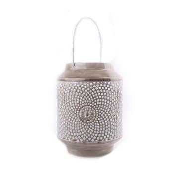 Lanterne métal gris taupe motifs style mozaique avec anse 17x17x25cm