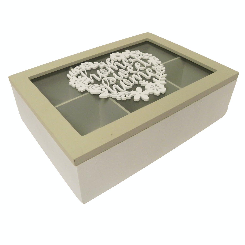 """Boite à thé compartimentée bois blanc et naturel décor c?ur floral """"Home Sweet Home"""" 24x7,2x17cm"""