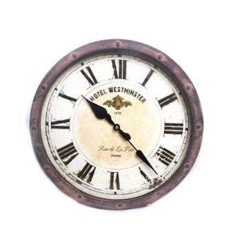 """Horloge rustique ronde métal vieilli """"Hotel Westminster"""" D40cm"""