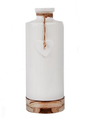 """Bouteille vase soliflore """"All U Need is Love"""" céramique blanche sur support bois et c?ur suspendu D11,3xH30cm"""
