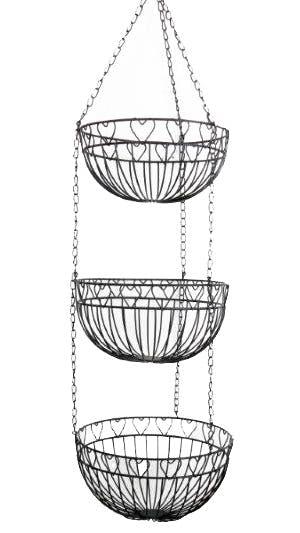 Suspension de 3 paniers métal noir déco lignes et c?urs et chaîne métallique 25x96cm
