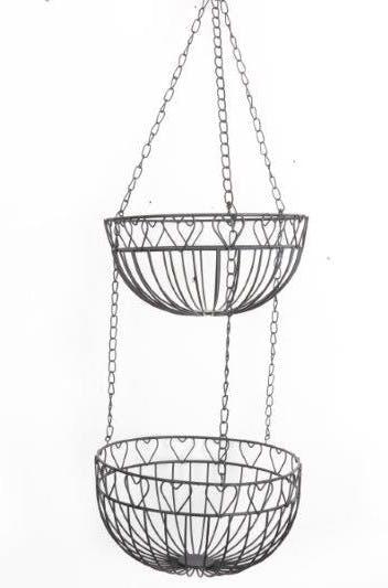 Suspension de 2 paniers métal noir déco lignes et c?urs et chaîne métallique 23x78cm