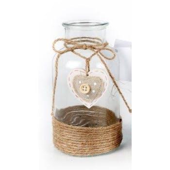 Vase bouteille verre déco corde et c?ur suspendu D8,5xH16cm