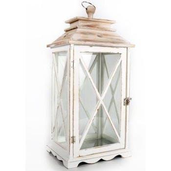 Lanterne bois blanc et marron 20x25x48cm
