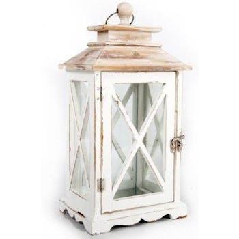 Lanterne bois blanc et marron 15x20x38,5cm