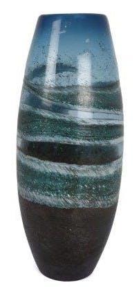 Vase obus en verre bleu avec effets de vagues choco blancs et gris D14,5xH38cm