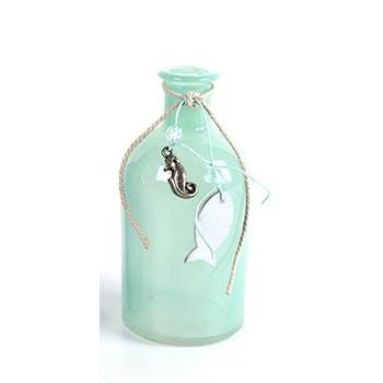 Vase bouteille en verre vert bleu turquoise avec décor de la mer suspendu D6xH13cm