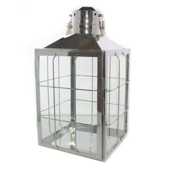 Lanterne carré en métal argenté grillagé et poignée corde 17,5x18x30cm