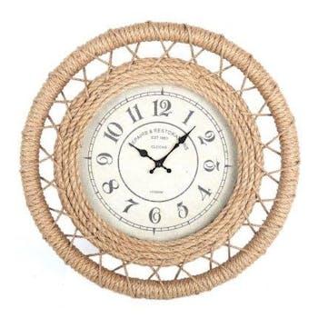 Horloge ronde en corde naturelle tréssée D50cm