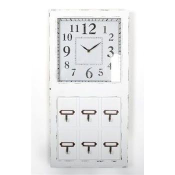 Horloge rectangle bois blanc avec 6 crochets 30x60cm