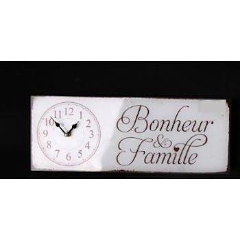 """Horloge message """"Bonheur et Famille"""" en verre blanc 40x15cm"""