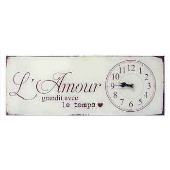 """Horloge message """"L'Amour grandit avec le Temps"""" en verre blanc 40x15cm"""