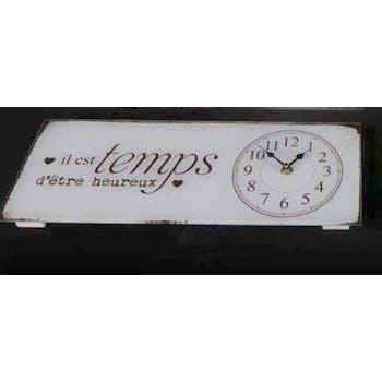 """Horloge message """"Il est Temps d'être Heureux"""" en verre blanc 40x15cm"""
