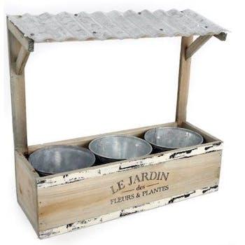"""Jardinère Auvent """"Le Jardin"""" bois naturel effet rustique avec 3 pots métal 33x30cm"""