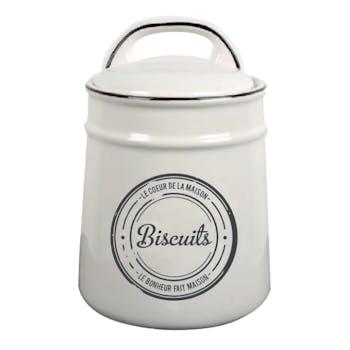 """Pot à biscuits """"Biscuits"""" en céramique écrue et liseret noir 15,5x15x22cm"""