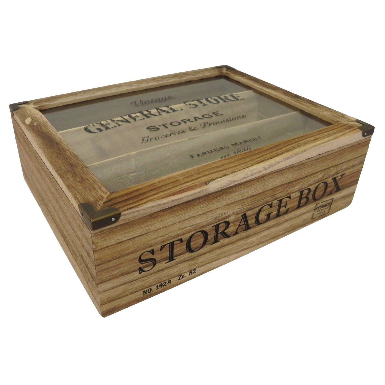 """Boite de rangement """"Vintage General Store"""" en bois 30x24cm"""