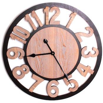 Horloge en bois naturel chiffres sculptés et contour métal noir D60cmS AJOURES D60CM