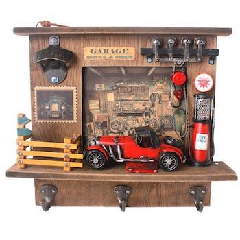 """Patère 3 crochets décor """"Garage"""" automobile ancienne rouge 29x8,5xH33cm"""